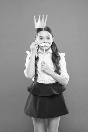 Happiness and joy concept. Girl having fun. International childrens day. Superior princess. Photo booth props. Playful princess. Schoolgirl princess golden crown. Queen of class. Narcissistic complex