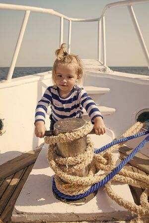 Time for adventure. If you choose follow animators steps every day will seem like never ending party. Baby enjoy sea cruise. Boy sailor travel sea. Boy sea yacht travel around world. Sea traveller