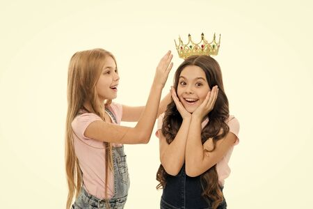Title goes to cute kid. My best friend. Personal appreciation. Kid wear golden crown symbol princess. Every girl dreaming become princess. Little princess. Receiver of the throne. Award ceremony