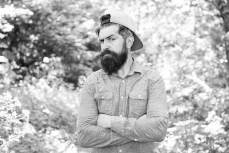 Men belong here. Hair beard care. guy in forest. summer camping. serious bearded man. Mature hipster with beard. male facial care. brutal man with beard. barber. hispter style. Fashion portrait man