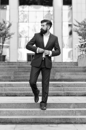 Business expert. handsome man ceo in fashion suit. modern life. motivated entrepreneur. formal male fashion. Classic style aesthetic. confident businessman. business success. business man ceo