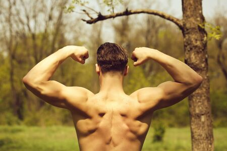 Biceps and back muscles of strong man with stylish haircut on park trees background. Concept of strength and bodybuilding