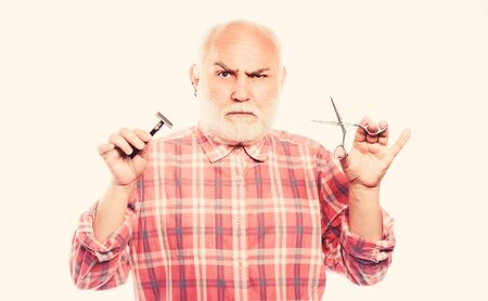 unshaven old man has moustache and beard. mature bearded man isolated on white. scissors cut and brush hair. shaving razor blade tool kit. barbershop concept. shaving accessories. What is that.