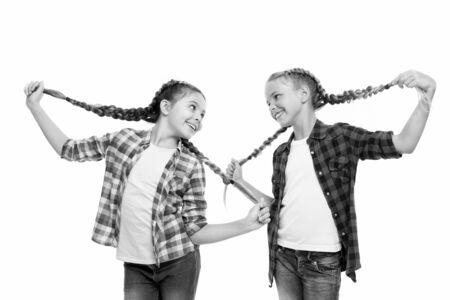 Dye hair fun colors. Keep hair braided for tidy look. Pupils with long braided hair. Hairdresser salon. Having fun. Rebellious spirit. Hairstyles school style. Girls long braids. Fashion trend