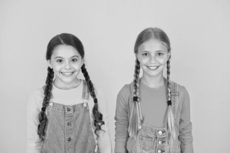 We are ukrainians. Girls with blue and yellow clothes. Patriotic upbringing. Independence day. Children ukrainian young generation. Ukrainian kids. Celebrate national holiday. Patriotism concept