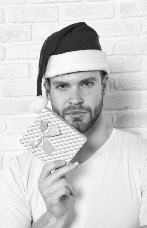 Man hold xmas box with blue ribbon