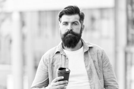 Great ideas come from great coffee. Man drink take away coffee. Bearded man relax outdoors. Coffee break concept. Caffeine addicted. Morning coffee. Mature hipster enjoy hot beverage