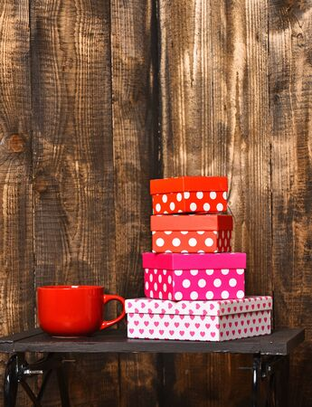 tea or coffee cup for drink with present box