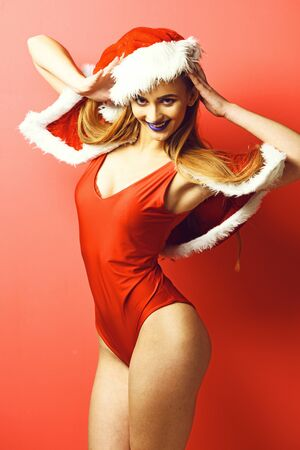 pretty smiling sexy santa girl