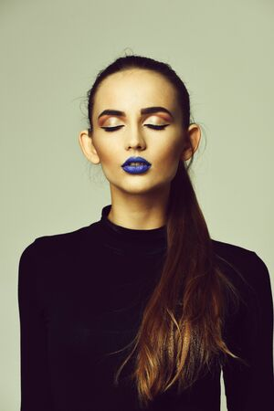 Pretty girl with blue lips