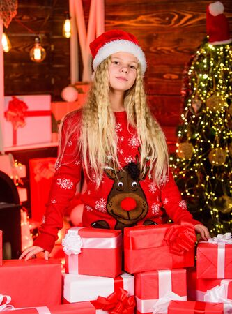 having fun. daughter exchanging gift. Christmas scene with tree and gifts. xmas mood. family holiday celebration. happy new year. from santa child. kid with present box. winter shopping sale Stock fotó