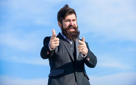 happy hipster. Charismatic male. Bearded man. Mature hipster with beard. Businessman against the sky. Future success. male formal fashion. brutal caucasian hipster with moustache