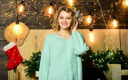 Things to do before christmas. Woman christmas decorations background. Relax and recharge. Christmas is by far most awaited for holiday of year. Girl smiling face enjoy cozy home atmosphere