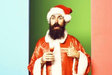surprised bearded santa claus man Stock fotó