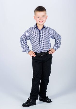 Upbringing and development. Confident boy. Little boy wear formal clothes. Cute boy serious event outfit. Impeccable style. Happy childhood. Kids fashion. Small businessman. Business school