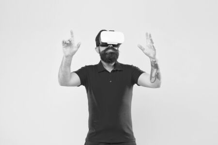 Virtual simulation. Digital technology. Where your dreams become reality. VR for gaming. Man play game in VR glasses. Hipster with virtual reality headset. Explore cyberspace. Virtual communication.