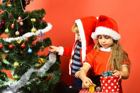 Sister and brother siblings hold little boxes near Christmas tree