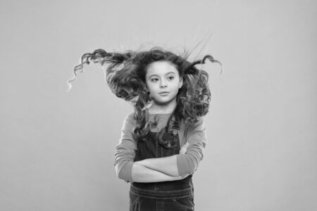 Fresh it up. Strong and healthy hair concept. Nice and tidy hairstyle. Small child long hair. Girl active kid with long gorgeous hair. Extra fresh dry shampoo. Easy tips making hairstyle for kids