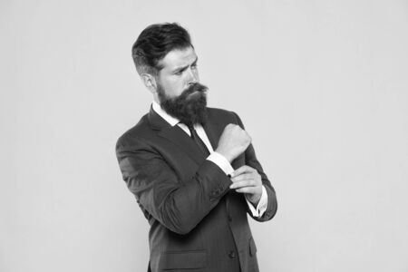 need a little help. leadership concept. Business people. Serious motivated entrepreneur. businessman formal suit. handsome bearded man ceo. Barbershop and stylist. successful and charismatic lawyer Reklamní fotografie