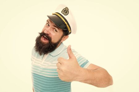 Summer vacation. Hipster beard mustache sailor hat. Captain of cruise liner. Brutal seaman isolated on white. Captain concept. Welcome aboard. Bearded man captain of ship. Sea cruise. Travel concept