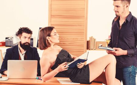 Sexual attraction. Stimulate sexual desire. Woman working in mostly male collective. Intentional sexual provocation. Woman attractive lady working with men colleagues. Office atmosphere concept