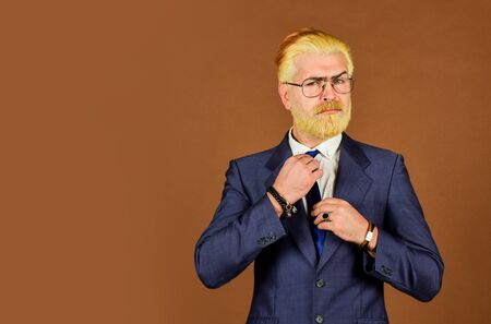 Perfect male. confident businessman wear glasses. mature man dyed beard and hair. grooming for formal meeting. male beauty and charisma. professional barber at barbershop. agile business. copy space