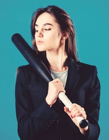 Decisive actions. Confidence and strength. Life game. Pretty and dangerous. Woman pretty girl bear formal jacket and hold baseball bat. Business strategy. Aggressive business. Business lady boss Standard-Bild - 138179741