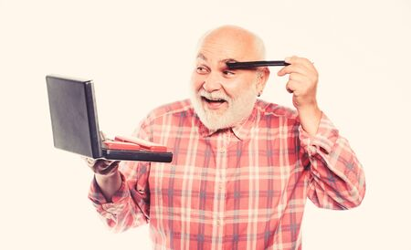 shaving kit in case. unshaven old man brush eye brow hair. razor blade or shaver. shaving accessories. mature bearded man isolated on white. portable shaving tool set. Bearded man