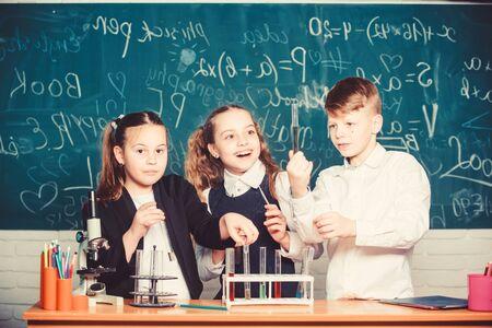 Group school pupils study chemistry in school.
