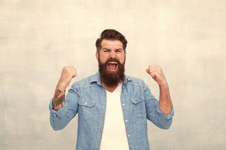 Bearded man celebrate success. everyday winner. Male fashion. happy mature hipster with beard. brutal hipster with moustache. express happiness. feel success after barbershop. Style in action