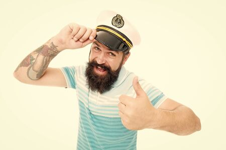 Welcome aboard. Sailor man give salute and thumbs up. Bearded man salute with blinder. Hand salute. Salute. Greeting. Hello