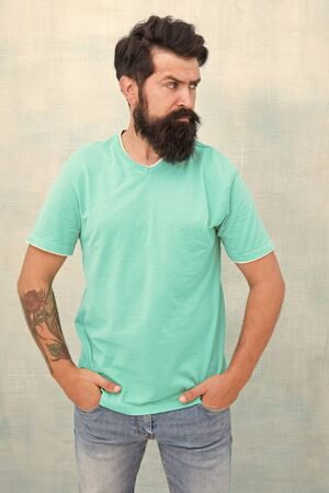 Beardy hipster. Hipster with stylish haircut isolated on white. Bearded man in trendy hipster style. Caucasian hipster with thick beard hair. Barbershop or barbers. Hairdressing salon