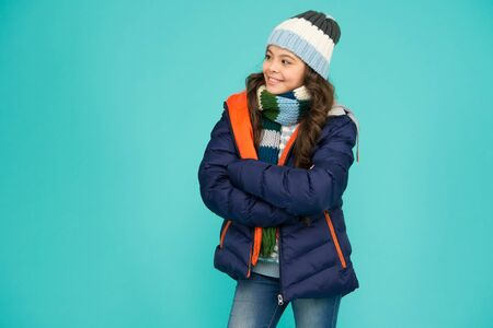 Warming up. Casual winter jacket more stylish have more comfort features. Female fashion. Children clothes shop. Designed for comfort. Fashion girl winter clothes. Fashion trend. Fashion coat