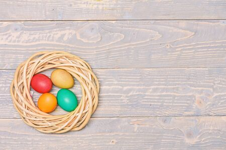 copy space. Healthy and happy holiday. painted eggs in nest. Egg hunt. Happy easter. Spring holiday. Holiday celebration, preparation. Perfect spring day.