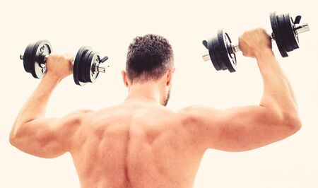 Sport lifestyle. Dumbbell exercise gym. Muscular man exercising with dumbbell rear view. Actions speak louder than coaches. Sportsman with strong back and arms. Sport equipment. Bodybuilding sport.
