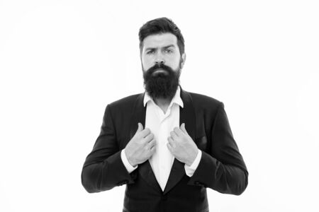 Superhero. Facial hair and grooming. Fashion model with long beard and mustache. Business people fashion style. Menswear and fashion concept. Man handsome bearded businessman wear formal suit