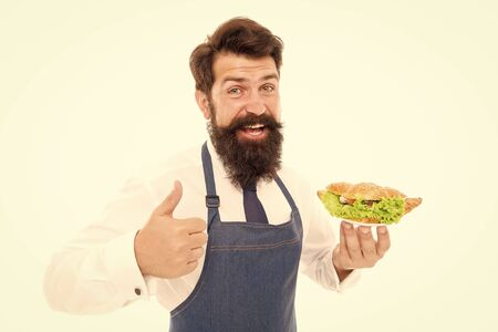 Diet cures more than doctor. Happy cook approve diet food. Bearded man enjoy healthy cooking. Health and diet. Diet and dieting. Healthy nutrition. Best dietary choice Stockfoto