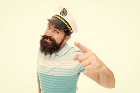 Sailor spirit born free. Bearded sailor isolated on white. Sailor or seaman point finger. Work as sailor. Professional mariner. Navy and marine. Sailing. The adventure begins