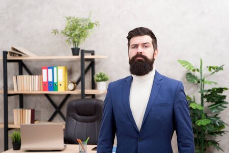 successful leader. successful businessman in formal outfit. Confident leader man use laptop. Boss workplace. Coffee break. Bearded man in business office. leadership development. man in leader office