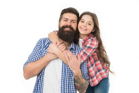 Little girl child love father. Happy family, happy child. Bearded man father with child. Fathers cutie. Family day. Happy little girl has long hair. Fathers day. Father and child. You are my treasure
