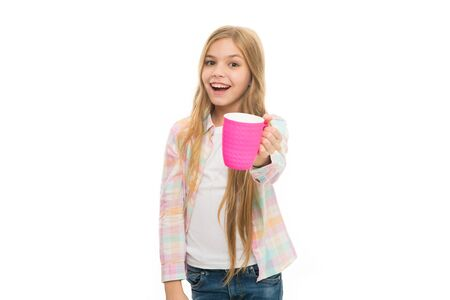 Hot cocoa recipe. Make sure kids drink enough water. Girl kid hold cup white background. Child hold mug. Drinking tea juice cocoa. Relaxing with drink. Child smiling drink enough during school day