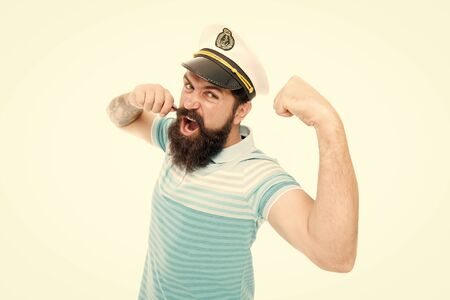 Lord of the seas. Travel concept. Summer vacation. Hipster beard mustache sailor hat. Captain cruise liner. Brutal seaman isolated on white. Captain concept. Bearded man captain of ship. Sea cruise
