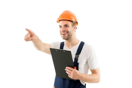 This way. Man hard hat hold building plan. Control and coordination. Control works. Foreman concept. Engineer architect project documents blueprint. Coordinator at construction site. Control process