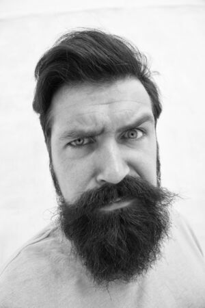 Strict face. Beard fashion barber. Handsome guy. Masculinity concept. Suspicious look. Man bearded hipster stylish beard grey background. Perceptions of male beauty. Stylish beard and mustache care