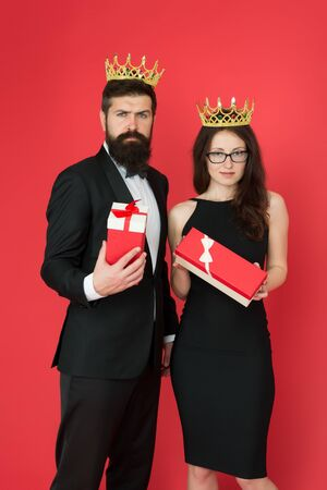 Best employee reward and recognition. Bearded man and sexy woman got reward. King and queen couple. Royal family. Prize reward. Reward and gifts. Gift shop. Shopping for presents