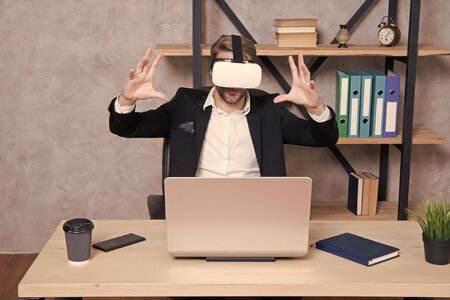 Virtual work space. Businessman explore virtual reality. Interact in virtual reality. Business implement modern technology. Man formal suit work 3d cyber space. Engineering and design. Modern gadget. 版權商用圖片