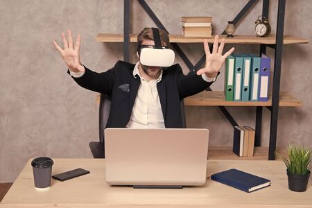 Modern gadget. Business implement modern technology. Virtual work space. Businessman explore virtual reality. Interact in virtual reality. Man formal suit work 3d cyber space. Engineering and design 版權商用圖片