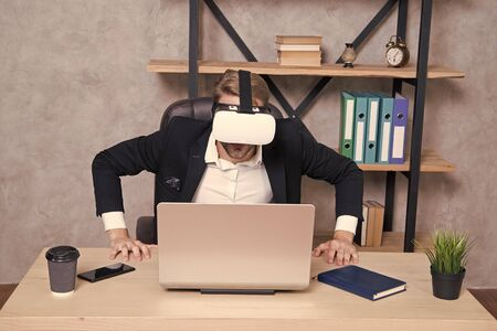 Engineering and design. Modern gadget. Business implement modern technology. Virtual work space. Businessman explore virtual reality. Interact in virtual reality. Man formal suit work 3d cyber space.