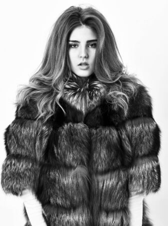 Woman makeup and hairstyle posing mink or sable fur coat. Fur fashion concept. Winter elite luxury clothes. Female brown fur coat. Fur store model posing in soft fluffy warm coat. Pretty fashionista Banco de Imagens