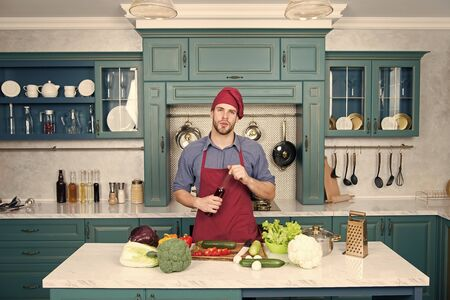 Teaching preparing meal. Proper nutrition. Fitness diet. Best food. Healthy food. Vegetarian recipe. Vegan chef in kitchen. Dieting and organic food. Bearded man cook. Chef man in hat. Culinary class 스톡 콘텐츠 - 140993468